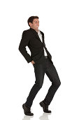Businessman standing in funny pose