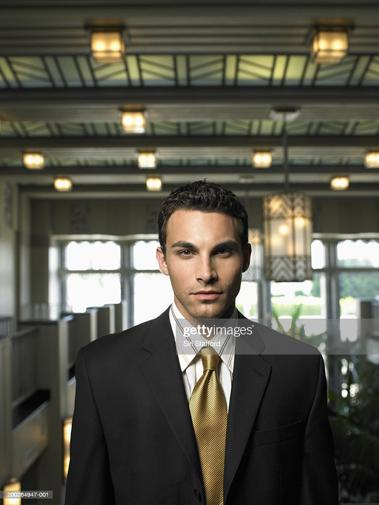 Businessman standing in office, portrait : Stock Photo