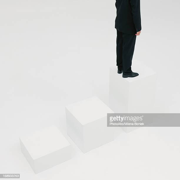 Businessman standing on highest step, cropped