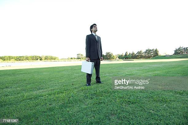 Businessman standing on lawn, holding briefcase