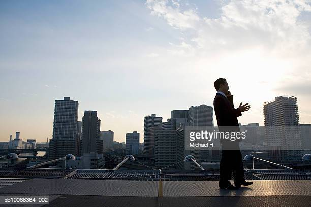 Businessman standing on roof top using mobile phone, dusk