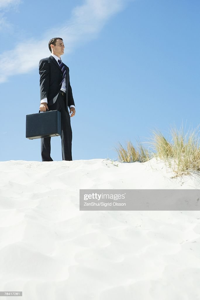 Businessman standing on sand dune, holding briefcase, low angle view : Stock Photo