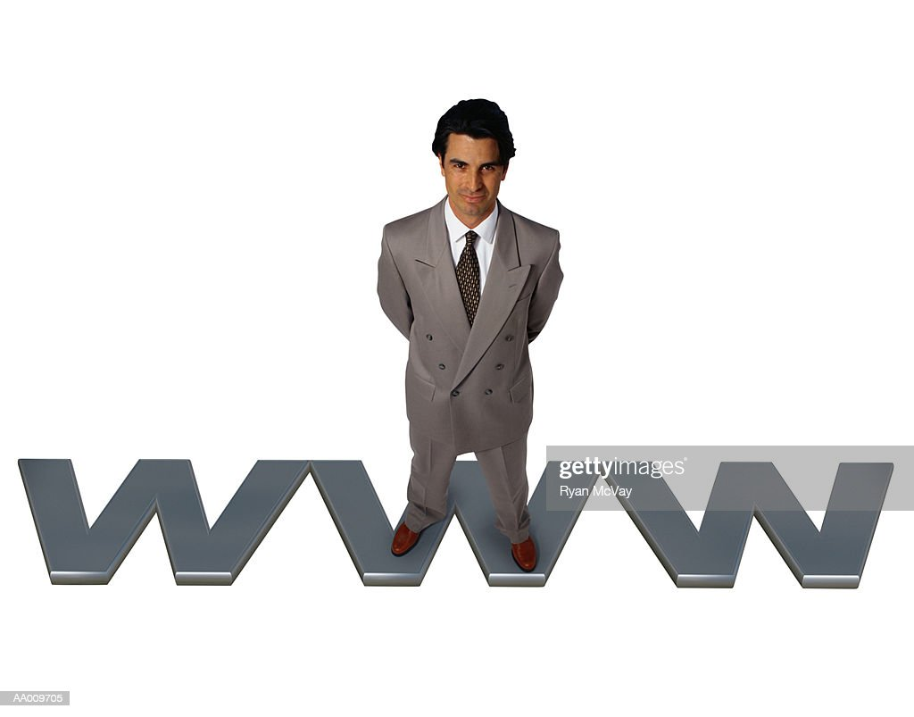 Businessman Standing on WWW : Stock Photo