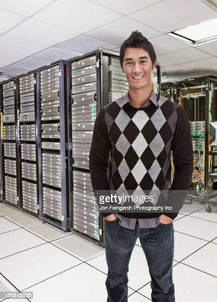 Businessman standing together in server room