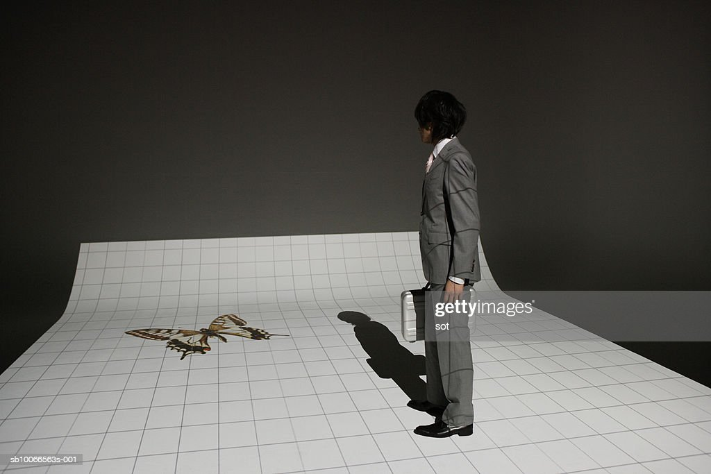 Businessman standing with briefcase looking at butterfly, side view : Stock Photo