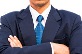 Businessman standing with closed posture, isolated