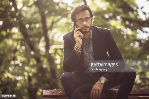 Businessman talking on a telephone