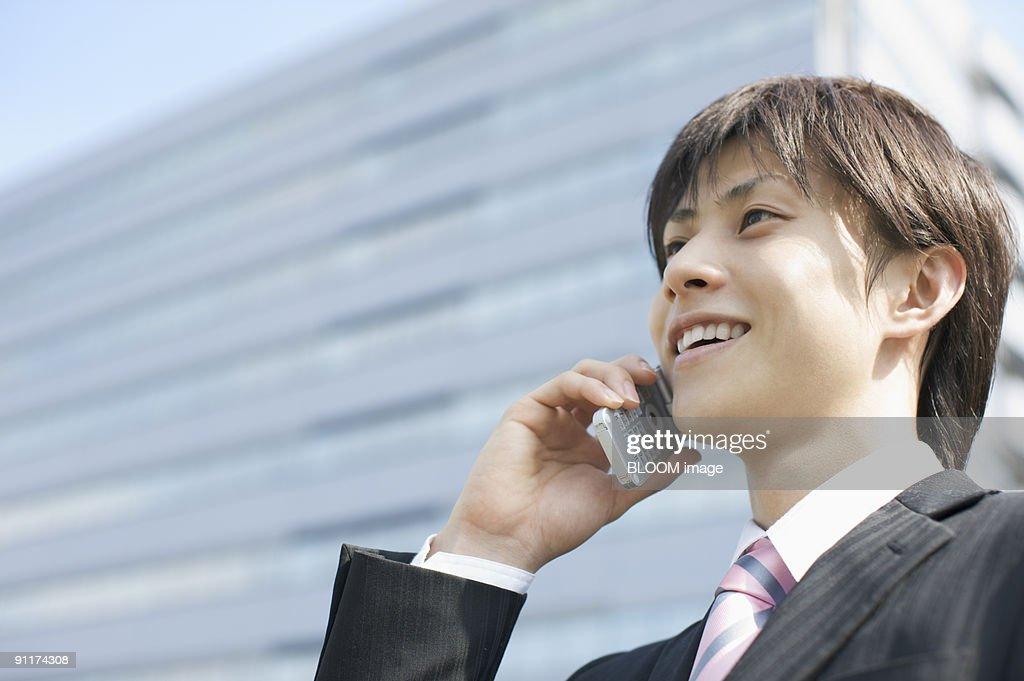 Businessman talking on mobile phone : Stock Photo