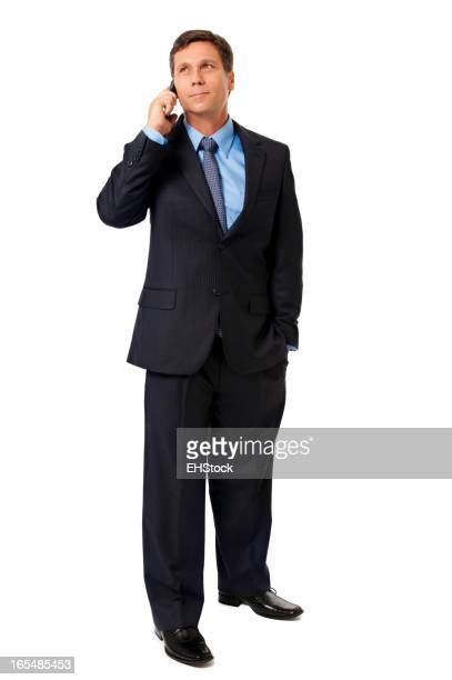 Businessman Talking with Mobile Phone Isolated on White Background