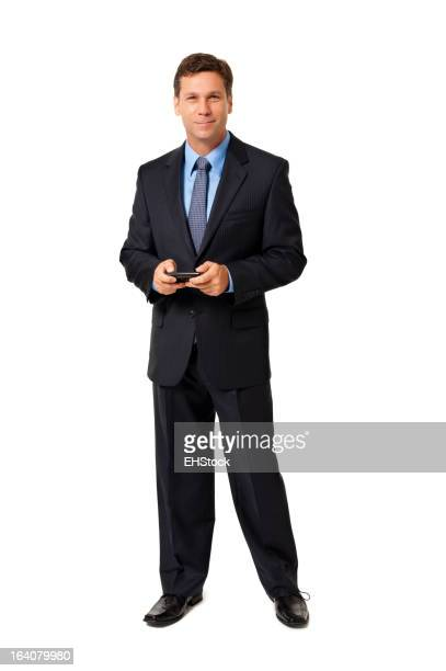 Businessman Texting with Mobile Phone Isolated on White Background