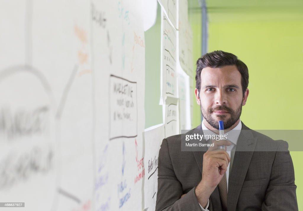 Businessman thinking at glass wall