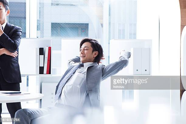 Businessman to relax during the meeting