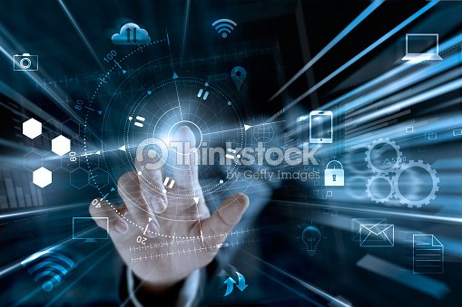 Businessman touching global networking data online shopping with icon customer worldwide connecting, m-banking and omni channel, multichannel : Stock Photo