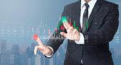 businessman trading buy sell stock market on digital screen
