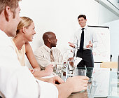 Businessman Using a Flip Chart to Make a Presentation to Colleagues in a Conference Room