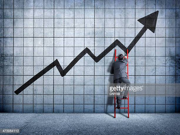 Businessman using a ladder in search of success