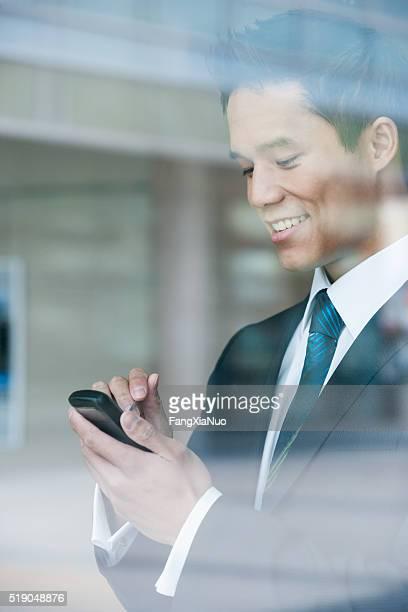 Businessman using a pda
