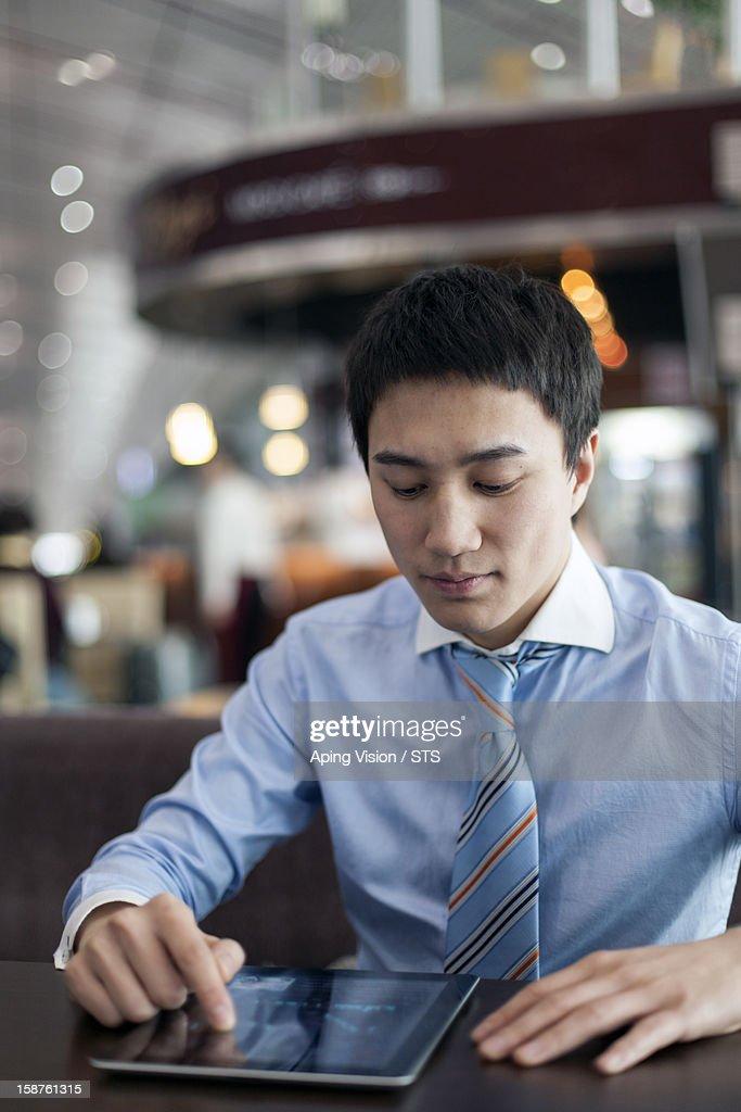 businessman using digital tablet : Stock Photo