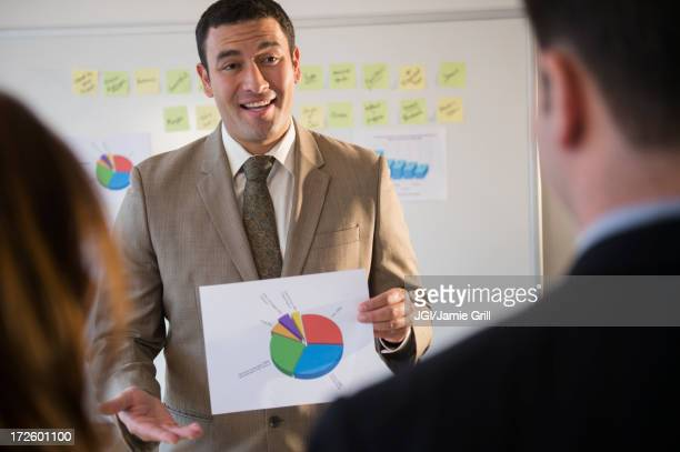 Businessman using graph in meeting