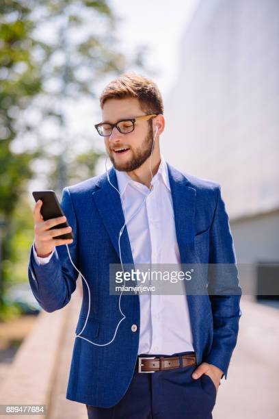 Businessman using smartphone for video call