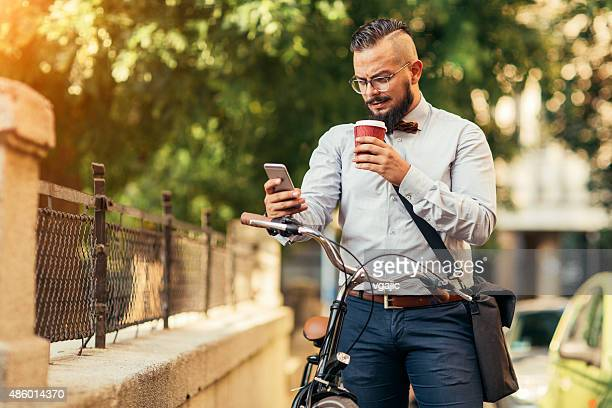 Businessman Using Smartphone Outdoors.