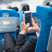 Businessman using his tablet phone on airplane. Business travel and communication concept.