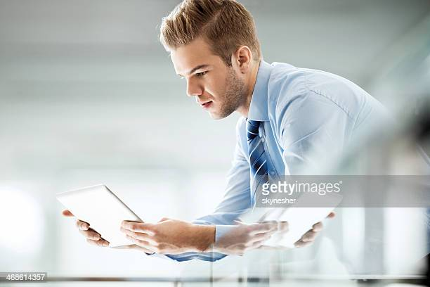 Businessman using touchpad.