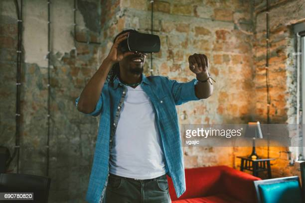 Businessman using VR Glasses