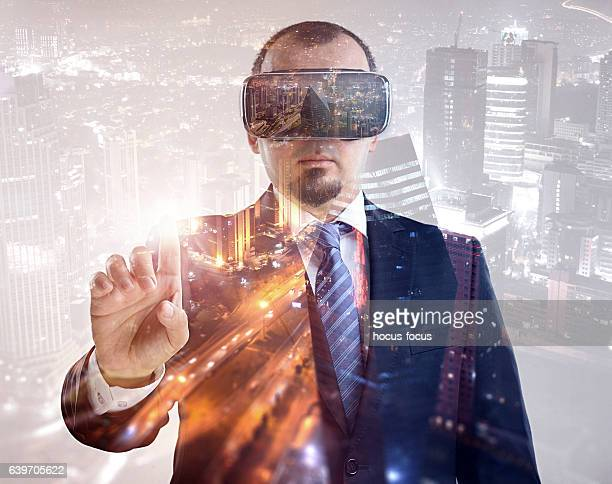 Businessman vr headset double exposure