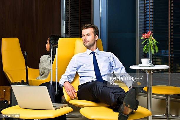 Businessman waiting for the flight