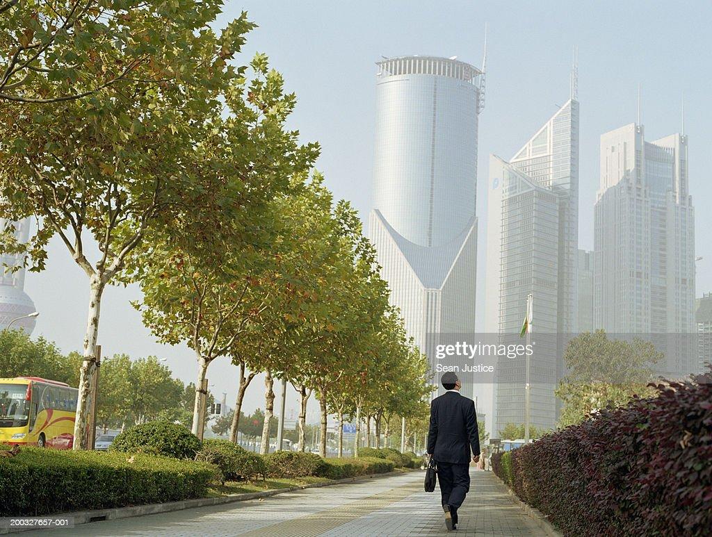 Businessman walking on street, rear view : Stock Photo