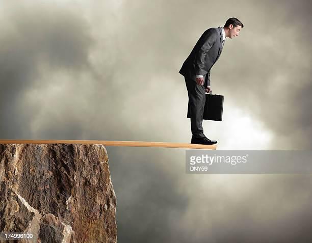 Businessman Walking the Plank