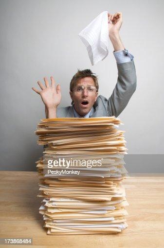 Businessman Waves White Flag in Surrender over Inbox