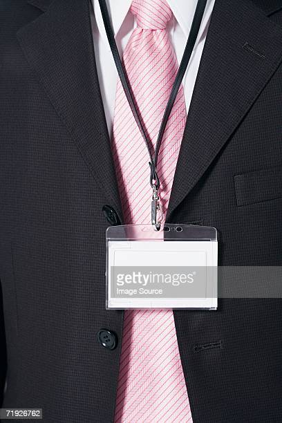 Businessman wearing a security pass