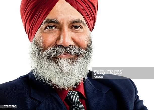 Uomo d'affari indossando una Turbante. Isolato