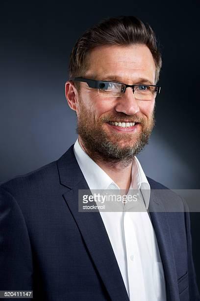 Businessman wearing futuristic glasses