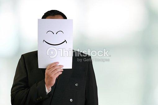 Sourire Heureux Homme Daffaires Portant Masque Pour Photo Thinkstock