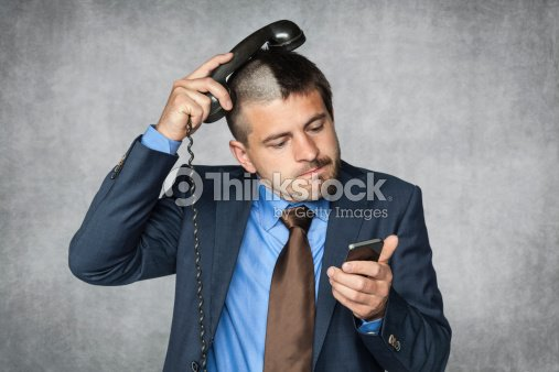 Businessman With A Funny Haircut Can Not Handle Phone Stock Photo - Businessman haircut