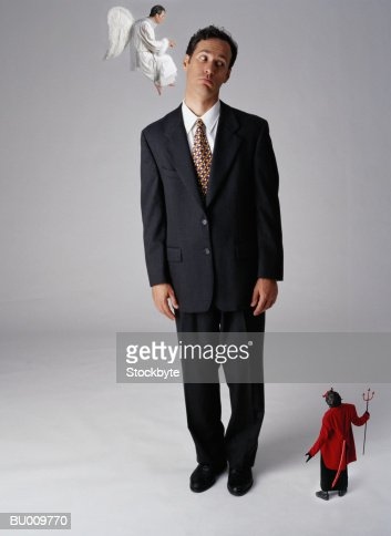 Businessman with Angel and Devil
