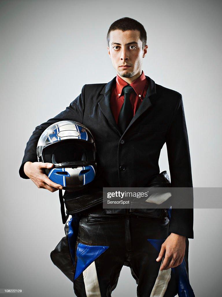 Businessman with biker suit