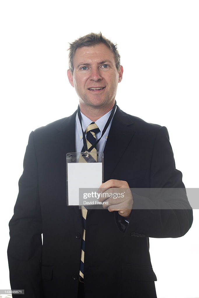 Businessman With Blank Conference Pass