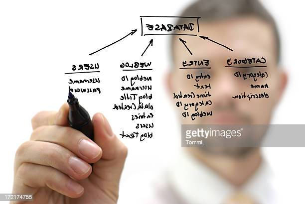 Businessman with database structure