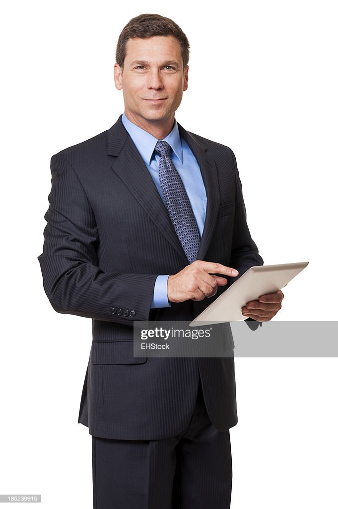 Businessman with Digital Tablet on White : Stock Photo