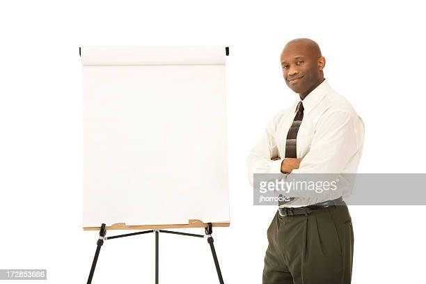 Homme d'affaires avec Chevalet de peintre