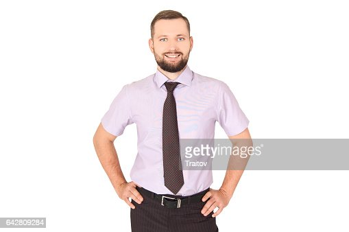 Businessman with hands on weist. Succes concept : Stock Photo