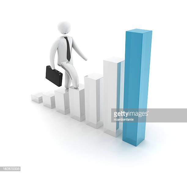 3D Businessman with height chart