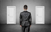 A businessman with his back turned stands between two identical closed white doors. Make right choice. Important decision. Never fail.