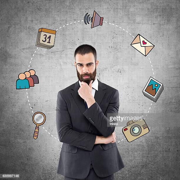 Businessman with infographic icons