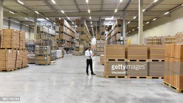 Businessman with laptop standing in warehouse