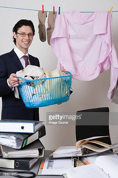 Businessman with laundry